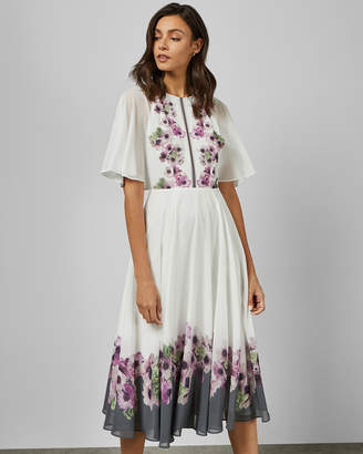 Ted Baker BEGONI Neapolitan frilled neck maxi dress