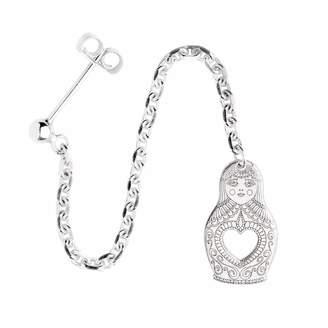 CarterGore - Silver Russian Doll Single Long Drop Earring