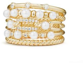 David Yurman Petite Perle Multi-Row Ring with Cultured Freshwater Pearls and Diamonds in 18K Gold