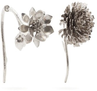 Marques Almeida Marques'almeida - Mismatched Floral Silver Plated Earrings - Womens - Silver