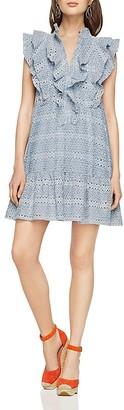 BCBGMAXAZRIA Viola Ruffle-Placket Eyelet Dress $298 thestylecure.com