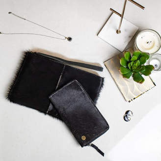 At Notonthehighstreet Mahi Leather Black Pony Fur Clutch And Purse Matching Set