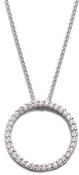 Roberto Coin Tiny Treasures Diamond& 18K White Gold Small Circle Pendant Necklace