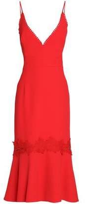 Nicholas Guipure Lace-Paneled Fluted Crepe Midi Dress