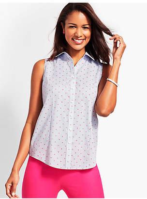 Talbots The Sleeveless Perfect Shirt - Palm-Tree Stripe