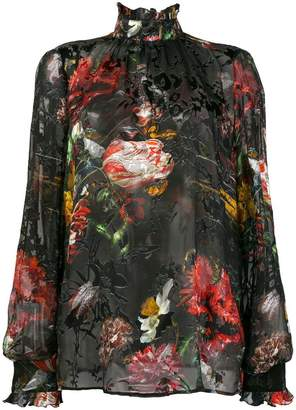 John Richmond sheer floral blouse