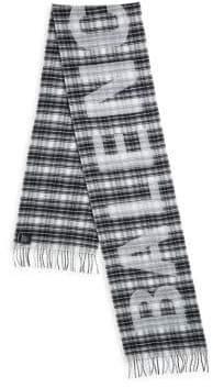 Balenciaga Logo Tartan Wool Scarf