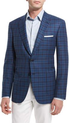 Brioni Plaid Two-Button Sport Coat, Blue