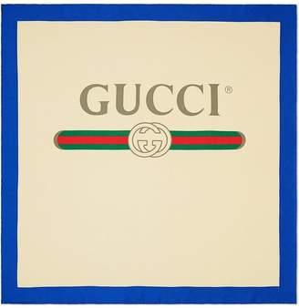 Gucci logo silk scarf