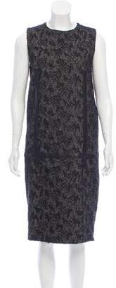 Bottega Veneta Leather-Trimmed Midi Dress