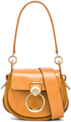 Chloé Small Tess Shiny Calfskin Shoulder Bag in Autumnal Brown | FWRD