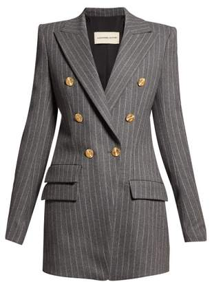 Alexandre Vauthier Double Breasted Pinstriped Wool Blend Blazer - Womens - Grey Multi