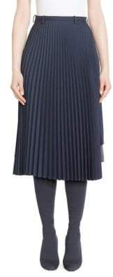 Balenciaga Mixed-Pleat Midi Skirt