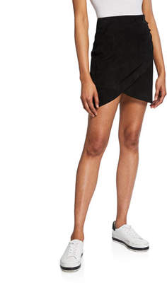 Alice + Olivia Fidela Draped Suede Mini Skirt