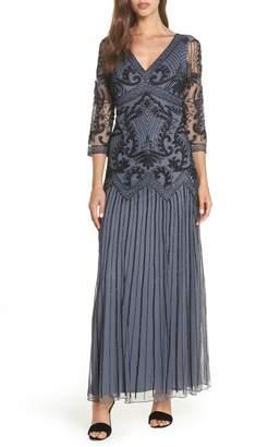 Pisarro Nights Embellished Mesh Drop Waist Dress