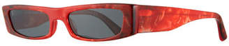 Alain Mikli Edwidge Narrow Rectangular Sunglasses - Red