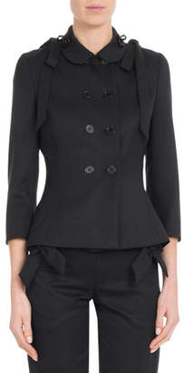 Simone Rocha Double-Breasted Bow-Shoulder Fitted Wool Jacket