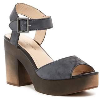 Kelsi Dagger Brooklyn Front Metallic Leather Platform Block Heel Sandal