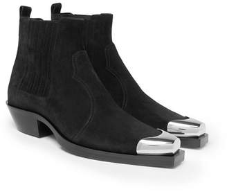 Balmain Metal Cap-Toe Suede Chelsea Boots
