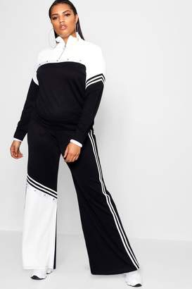 boohoo Plus Stripe Popper Wide Leg Trouser