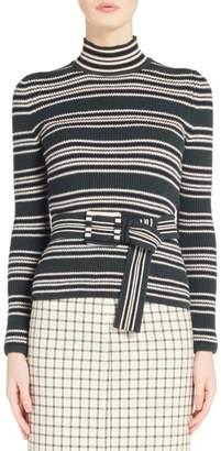 Fendi Belted Stripe Turtleneck Sweater