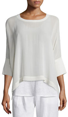 Eileen Fisher 3/4-Sleeve Sheer Silk Top $218 thestylecure.com