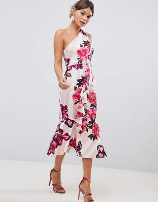 Asos Design DESIGN one shoulder midi dress with floral and stripe print