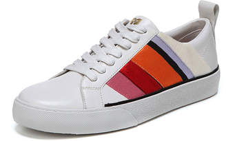 Diane von Furstenberg Tess-3 Striped Leather Lace-Up Sneakers