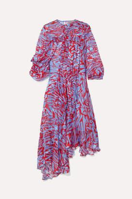 Preen by Thornton Bregazzi Helen Asymmetric Printed Devoré Silk-blend Satin Dress