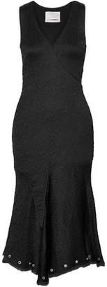 Jason Wu Wrap-Effect Eyelet-Embellished Frayed Matelassé Dress