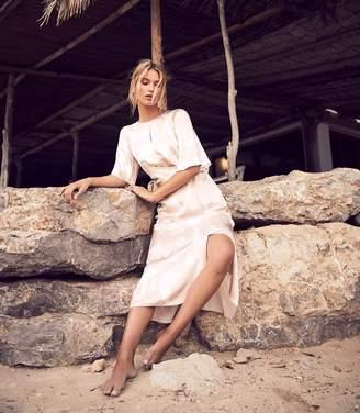 Reiss ARLO HALF SLEEVE PRINTED MIDI DRESS Pink