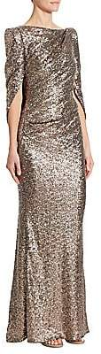 Talbot Runhof Women's Sequin Cape Gown