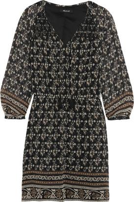 Madewell - Shirred Printed Georgette Mini Dress - Black $170 thestylecure.com