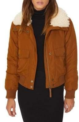 Sanctuary Faux Fur-Trimmed Aviator Flight Jacket