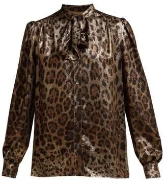 Dolce & Gabbana Leopard Print Metallic Silk Blend Pussy Bow Blouse - Womens - Leopard
