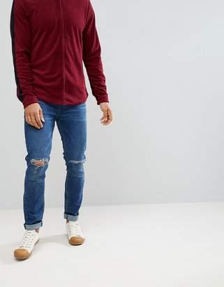 Asos DESIGN Skinny Jeans In Dark Wash With Knee Rips