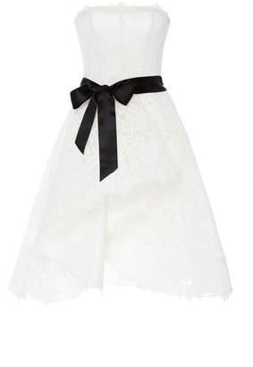 Monique Lhuillier Strapless Woven Lace Cocktail Dress With Asymmetric Skirt