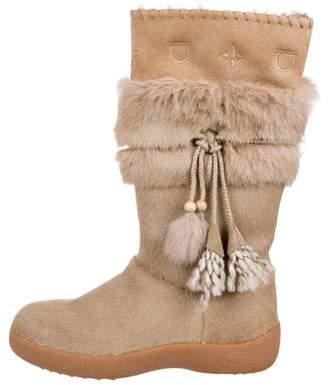 Salvatore Ferragamo Ponyhair Fur-Trimmed Boots
