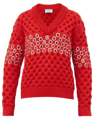 Prada Crystal Chunky Knit Wool Sweater - Womens - Red