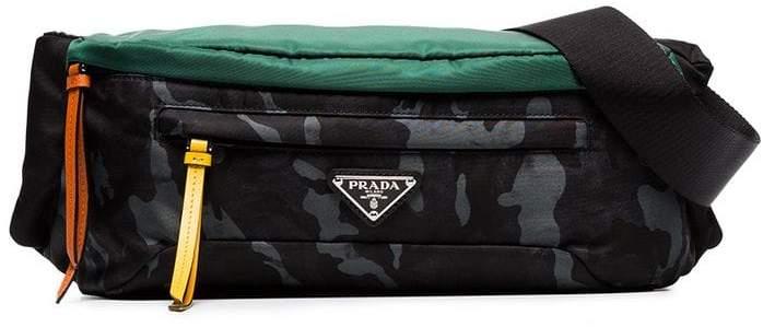 Prada blue camo nylon belt bag