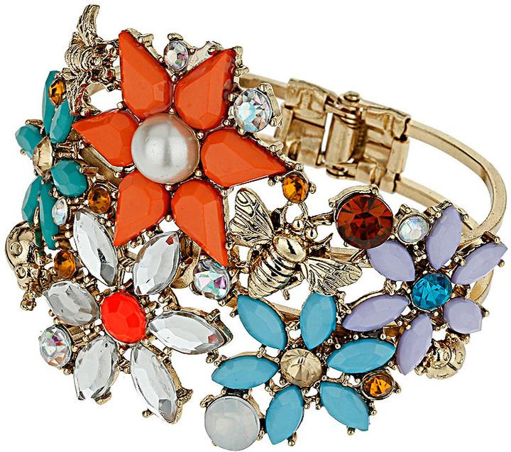 Topshop Flower Stone Clamp Bracelet