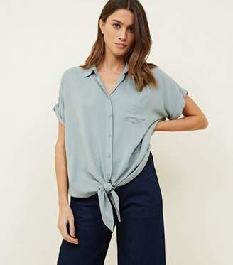 New Look Mint Green Short Sleeve Tie Front Shirt