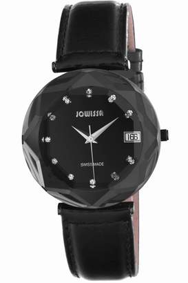 Jowissa Women's J5.221.XL Crystal Black PVD Stainless Steel Dial With Stones Date Watch