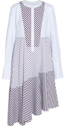 Carven Asymmetric Twill-Paneled Striped Cotton-Poplin Shirt Dress