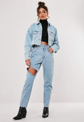 Missguided Light Blue High Waisted Open Knee Mom Jeans
