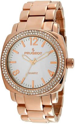 Peugeot Womens Crystal-Accent Rose-Tone Boyfriend Bracelet Watch