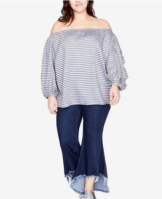 Rachel Roy Trendy Plus Size Frayed-Hem Flared Jeans