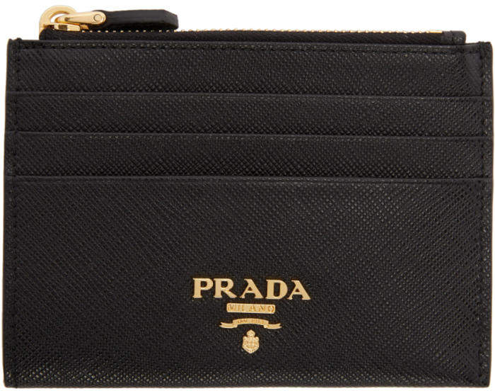 Prada Black Saffiano Zip Card Holder