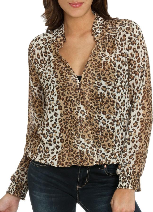 Arden B Leopard Surplice Blouse