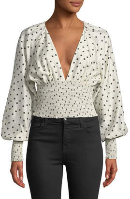 Diane von Furstenberg Dot-Print Smocked Silk Blouse